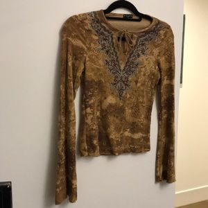 Brown long sleeved shirt with blue beading and tie